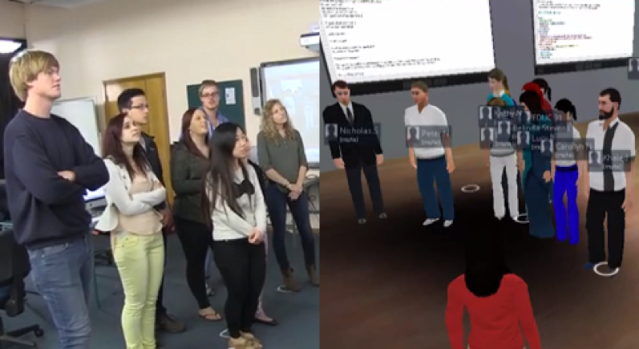 Students in the face-to-face classroom interacting with students in the virtual world